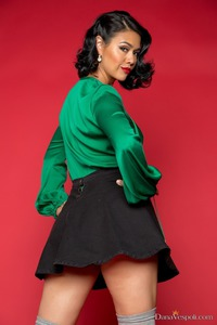 Dana Vespoli In Green Satin And Red Lips