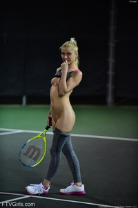 Krystal Playing Tennis Nude