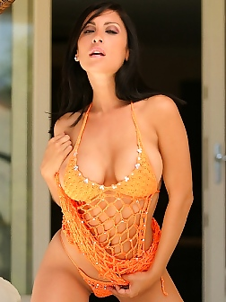Jessica Canizales in orange crush dress