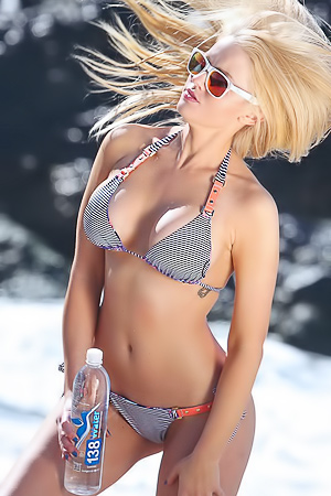 Anna Sophia Berglund In Sexy Striped Bikini