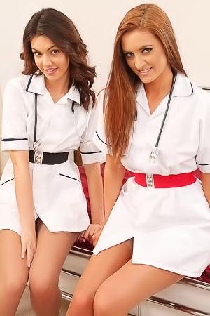 Horny Nurses Demi J Snd Abigail B Poses In Hot Stockings