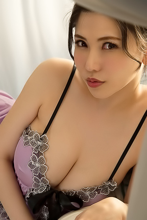 Anri Okita in Purple Lace Lingerie