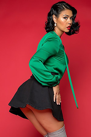Dana Vespoli In Green Satin And Red Lips