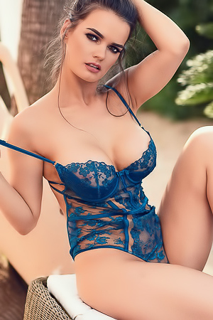 Ashley White In Sexy Blue Bodysuit