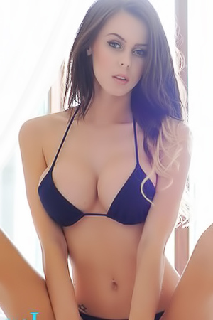 Jennifer Ann Teasing In Navy Blue Top And Thong