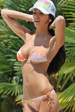 Georgia Salpa Posing In A Tiny Bikini By The Pool