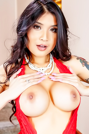 Sexy Brunette Pornstar Brenna Sparks Strips Her Red Lingerie