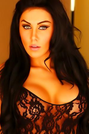 Hot Vixen Babe Danielle In Black Lace Lingerie