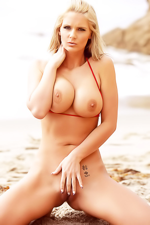 Busty blonde nude beach