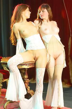 Half-naked lesbians share a mutual fantastic orgasm.