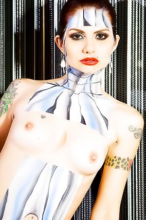 Artistic Model Nikki Sebastian Shows Colorful Body